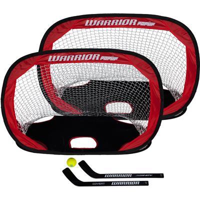 Warrior Two Pop-Up Mini Hockey Nets w/ Sticks & Ball