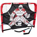Bauer Deluxe Knee Hockey Steel Goal Set w/ 2 Sticks, Ball & Target - 30.5