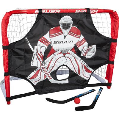"Bauer Deluxe Knee Hockey Steel Goal Set w/ 2 Sticks, Ball & Target - 30.5""x23""x13.5"""