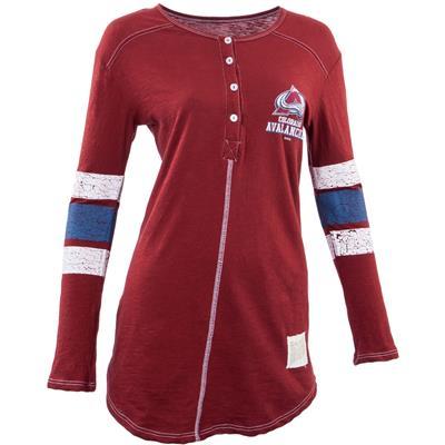 Retro Brand Colorado Avalanche Henley Long Sleeve Shirt
