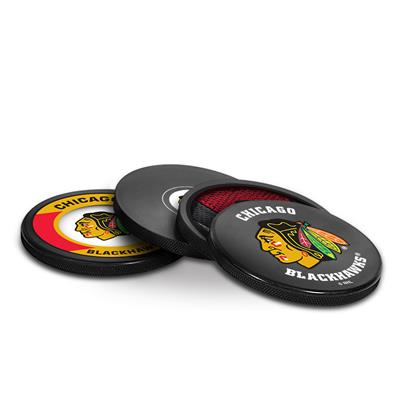 Sher-Wood Sher-Wood Puck Coasters Pack - Chicago Blackhawks