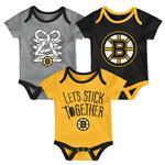 Adidas Boston Bruins Five on Three Baby Onesie 3-Pack - Infant