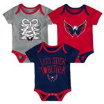 Adidas Washington Capitals Five on Three Baby Onesie 3-Pack - Infant