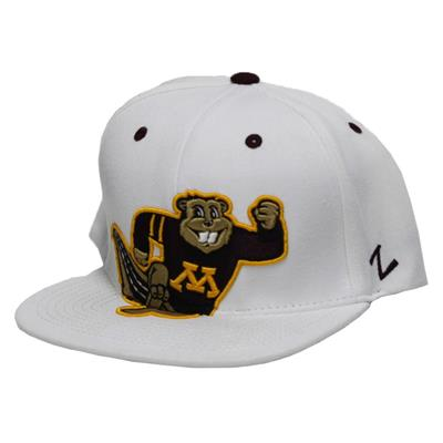 Menace Running Goldy 32/5 Hat (Zephyr Menace Running Goldy Snapback 32/5 Hockey Hat - University of Minnesota Gophers)