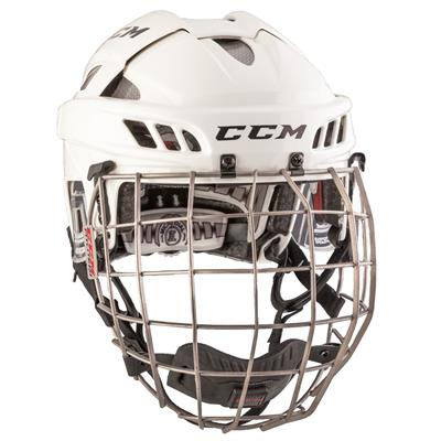 White/Silver (CCM FITLITE Helmet Combo)