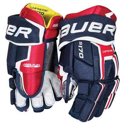 Navy/Red/White (Bauer Supreme S170 Hockey Gloves - 2017 - Senior)
