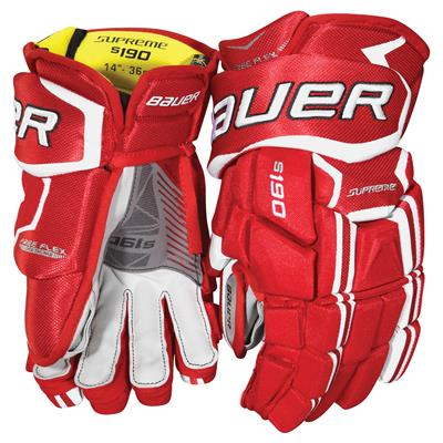 Red (Bauer Supreme S190 Hockey Gloves - 2017 - Senior)