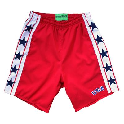 1980 MIRACLE HOCKEY RED SHORTS (1980 Miracle USA Hockey Shorts - Mens)