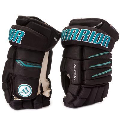 Black/Teal (Warrior Alpha Pro Hockey Gloves)