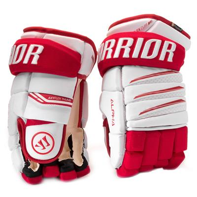 White/Red (Warrior Alpha Pro Hockey Gloves - Junior)