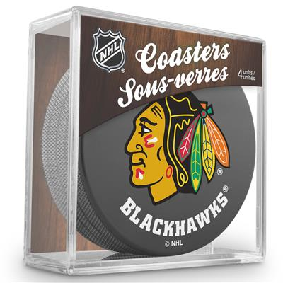 (Sher-Wood Puck Coasters Pack - Chicago Blackhawks)