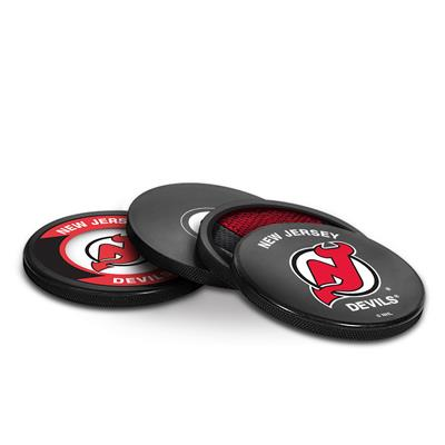 (Sher-Wood Puck Coasters Pack - New Jersey Devils)