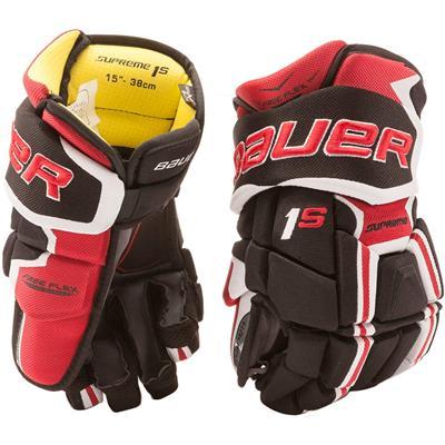 Black/Red (Bauer Supreme 1S Hockey Gloves - 2017 - Junior)