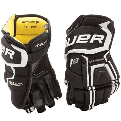 Black/White (Bauer Supreme 1S Hockey Gloves - 2017 - Junior)