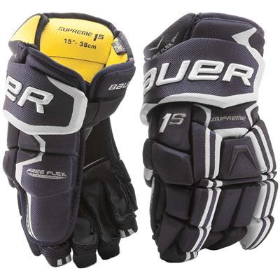 Navy (Bauer Supreme 1S Hockey Gloves - 2017 - Junior)