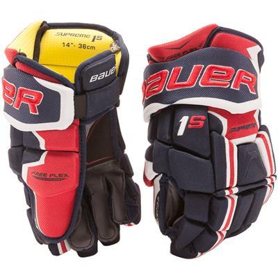 Navy/Red/White (Bauer Supreme 1S Hockey Gloves - 2017 - Junior)