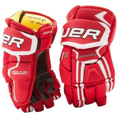 Red (Bauer Supreme 1S Hockey Gloves - 2017 - Junior)