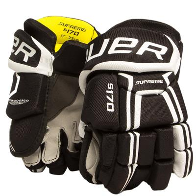 Black/White (Bauer Supreme S170 Hockey Gloves - 2017 - Youth)