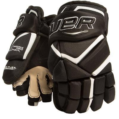 Black/White (Bauer Vapor Matrix Pro Hockey Gloves - 2017 - Junior)