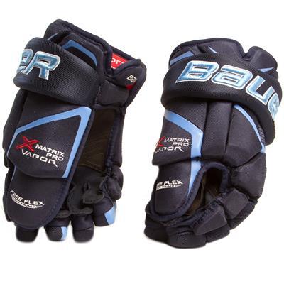 Navy/Columbia Blue (Bauer Vapor Matrix Pro Hockey Gloves - 2017 - Junior)