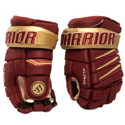 Maroon/Gold (Warrior Alpha Pro Hockey Gloves)