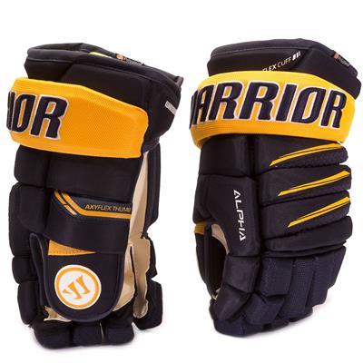 Navy/Yellow (Warrior Alpha Pro Hockey Gloves - Junior)