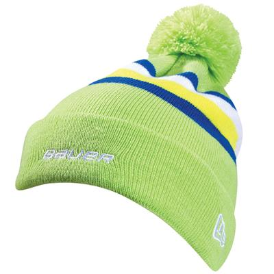 BF16 Stripe Knit Pom (Bauer BF16 Stripe Knit Pom Hockey Beanie - Youth)