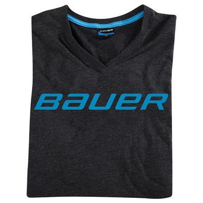 (Bauer V-neck Logo Short Sleeve Hockey Shirt)