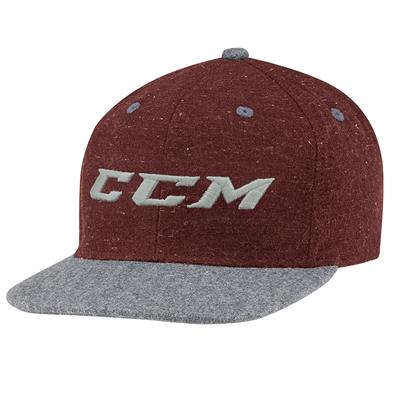 Burgundy/Grey (CCM Chambray Snapback Hockey Hat)