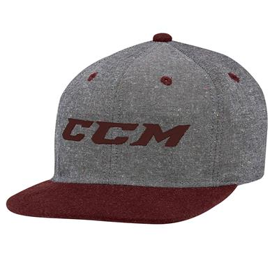 Grey/Burgundy (CCM Chambray Snapback Hockey Hat)