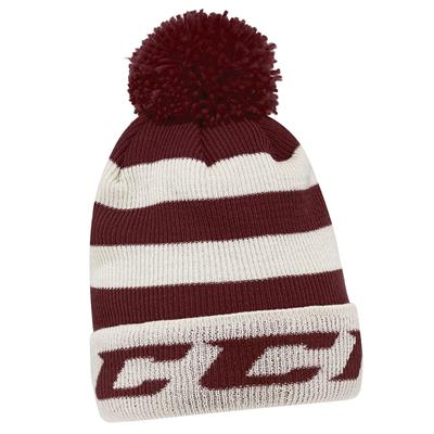 Burgundy (CCM Striped Cuffed Hockey Knit - Adult)