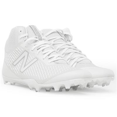 (New Balance Burn X Mid-Cleat White/White)