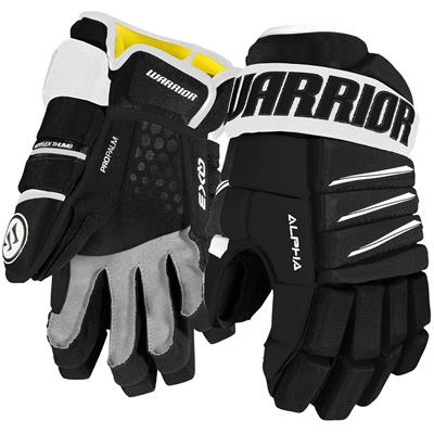 Black/White (Warrior Alpha QX3 Hockey Gloves - Senior)