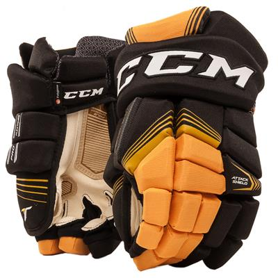 Black/Sunflower (CCM Super Tacks Hockey Gloves)