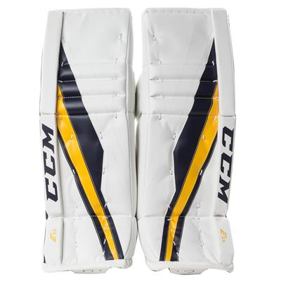 White/Navy/Gold (CCM Extreme Flex E3.5 Goalie Leg Pads - Junior)