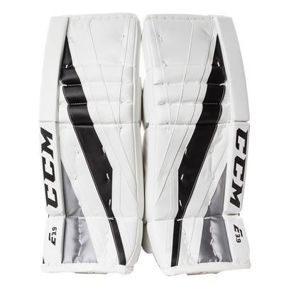 White/Black/Silver (CCM Extreme Flex E3.9 Goalie Leg Pads - Intermediate)