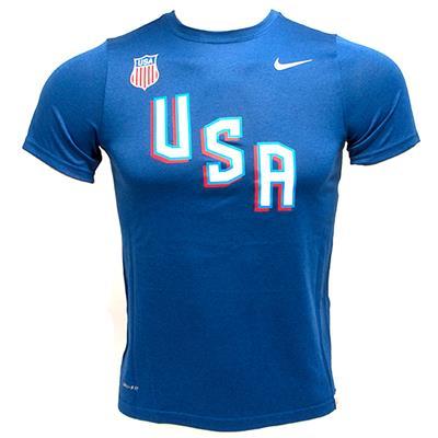 Blue (Nike USA Hockey Legend Short Sleeve Tee - Youth)