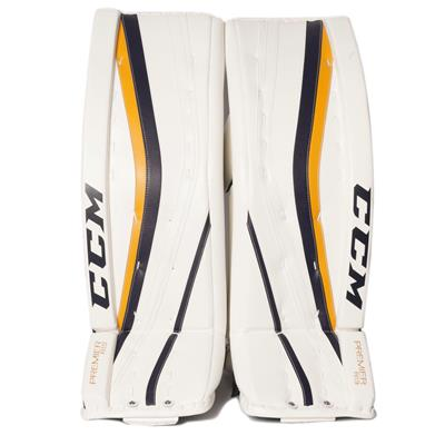 White/White/Navy/Gold (CCM Premier R1.9 Goalie Leg Pads)