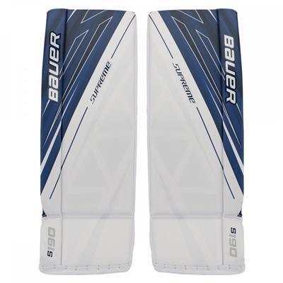 White/Blue (Bauer Supreme S190 Goalie Leg Pads - Senior)