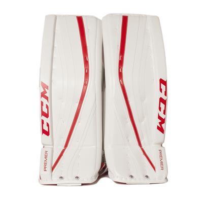 White/White/Red (CCM Premier Pro Goalie Leg Pads)