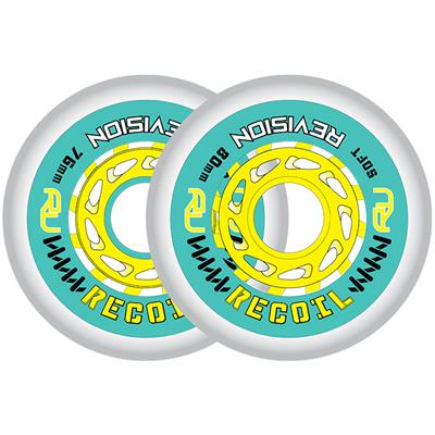 (Revision Recoil Soft Inline Wheel - Teal/Yellow)