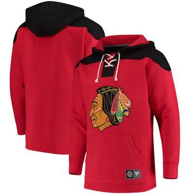 (Fanatics Chicago Blackhawks Fleece Lace Up Hoody)