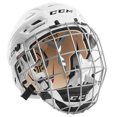 White (CCM Tacks 110 Hockey Helmet Combo)