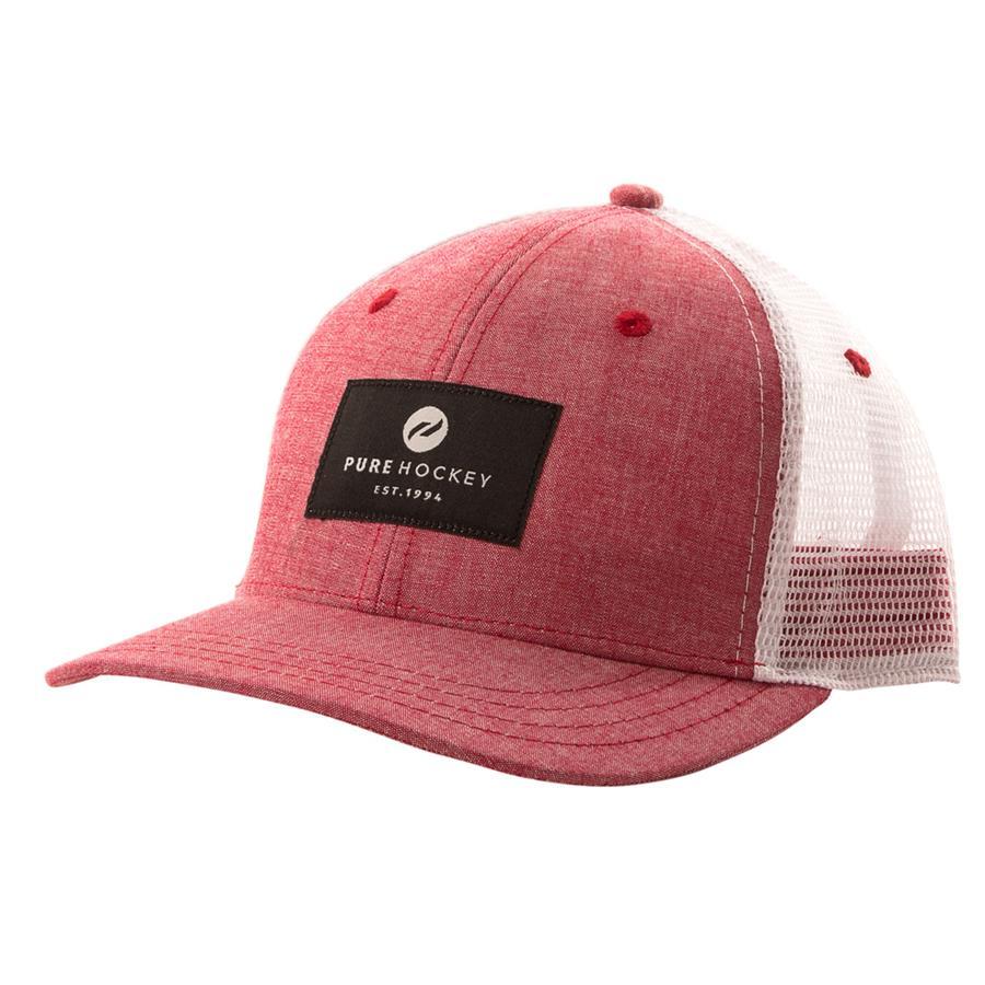 (Pure Hockey Chambray Red Black Mesh Back Hat - Youth) 71a2b3b580e