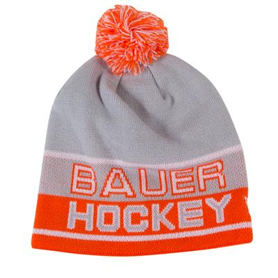 Grey/Orange (Bauer Athletic Knit Pom Hockey Hat)