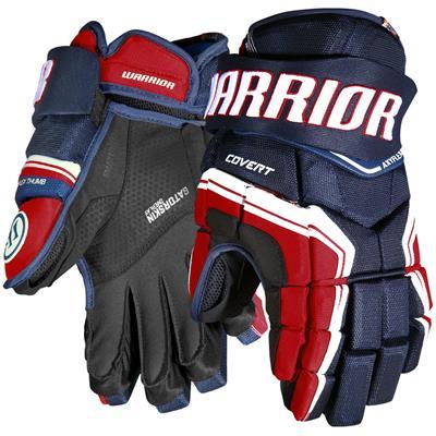 Navy/Red/White (Warrior Covert QR Edge Hockey Gloves - Junior)