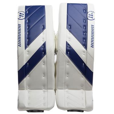 White/Blue (Warrior Ritual G4 Goalie Leg Pads - Intermediate)