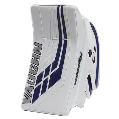 White/Blue (Vaughn Velocity VE8 Pro Carbon Goalie Blocker)