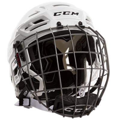 White (CCM Tacks 310 Hockey Helmet Combo)