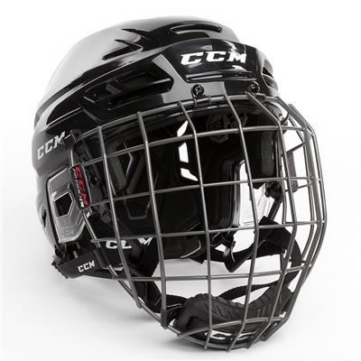 Black (CCM Tacks 310 Hockey Helmet Combo)